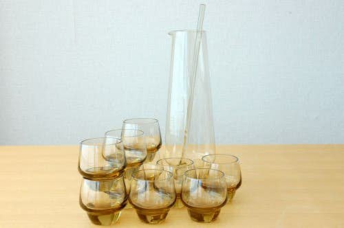 スウェーデンで見つけたガラスのピッチャー&グラス&マドラーのセット(グラス10コ)の商品写真