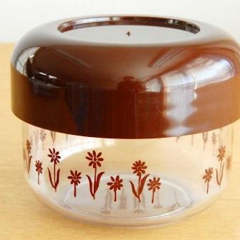 フィンランド製/プラスティックキャニスター(ブラウン・お花模様)の商品写真