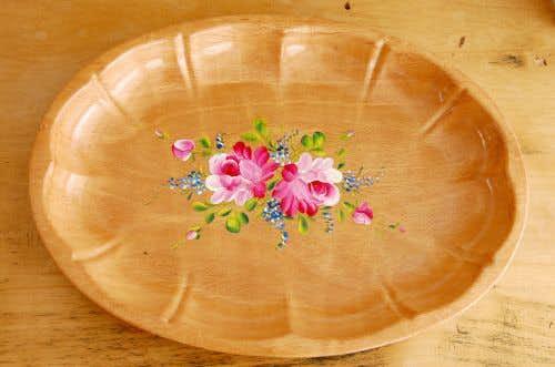 デンマークで見つけたお花のペイントが素敵な木製トレーの商品写真