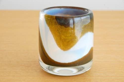 スウェーデンで見つけたガラスの花瓶(ホワイト×ブラウン)の商品写真