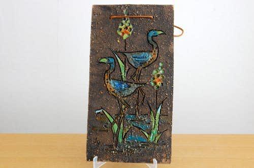 スウェーデン/Tilgmans/ティルグマン/陶板の壁掛け(二羽の鳥)の商品写真