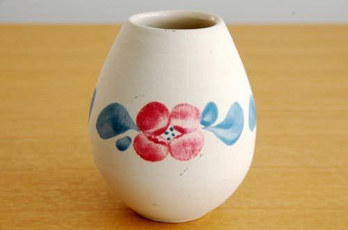 スウェーデン/GABRIEL釜/陶器の花瓶(ピンク×ブルーのお花模様)の商品写真