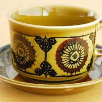 ノルウェー/STAVANGERFLINT/ティーカップ&ソーサー(オリーブグリーン・僅かに難あり)の商品写真