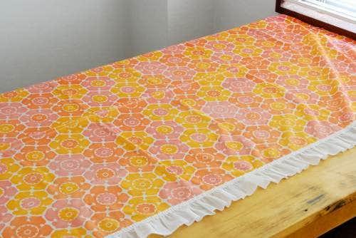 スウェーデンで見つけたヴィンテージカーテン2枚セット(ピンク×オレンジ)の商品写真