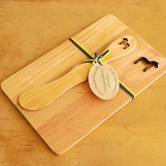 ヘムスロイド/SKANDINAVISK HEMSLOJD/バターナイフ&ボードセット(ダーラナホース)の商品写真