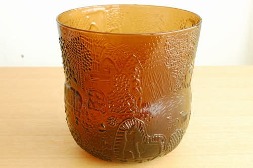 Nuutajarvi/FAUNAシリーズ/Oiva Toikka/オイバ・トイッカ/ガラスの花瓶(ブラウン)の商品写真