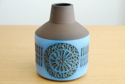 Alingsas Keramik/アリングソースケラミック/陶器の花瓶(ブラウン×ブルー)の商品写真