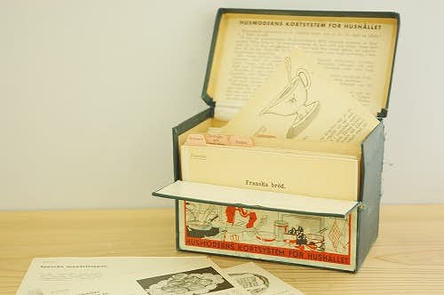 スウェーデンで見つけた古いクッキングレシピボックスの商品写真
