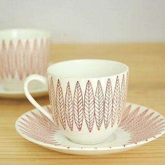 グスタフスベリ サーリックス GUSTAVSBERG  SALIX  コーヒーカップ&ソーサー 赤 スティグ・リンドベリの商品写真