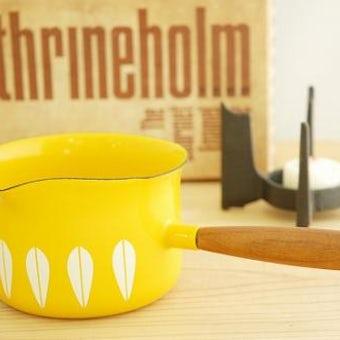 CATHERINEHOLM milk pan/キャサリンホルム ミルクパン ホワイト×イエロー(箱付 未使用)の商品写真