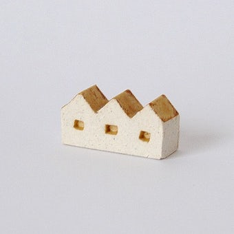 よしおかれい/家のオブジェ/3軒ならびの家(イエロー)の商品写真