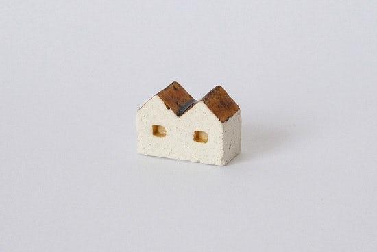 よしおかれい/家のオブジェ/2軒ならびの家(ブラウン)の商品写真