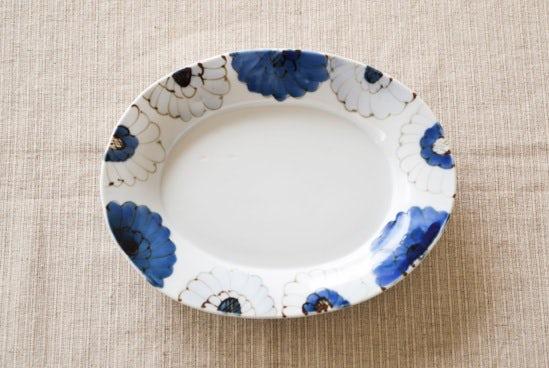 九谷焼/高原真由美/花尽くし/楕円皿(長辺約21.5cm)の商品写真