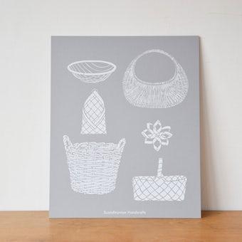 【取扱終了】オリジナルポスター/シルクスクリーン/北欧のかご(グレー)の商品写真