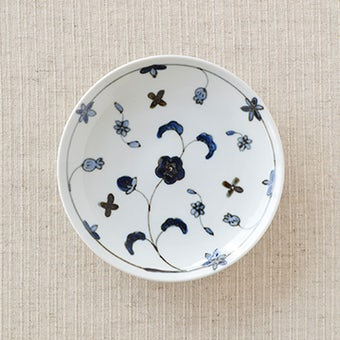 九谷焼/日下華子/花唐草/4.5寸皿(径:約14cm)の商品写真