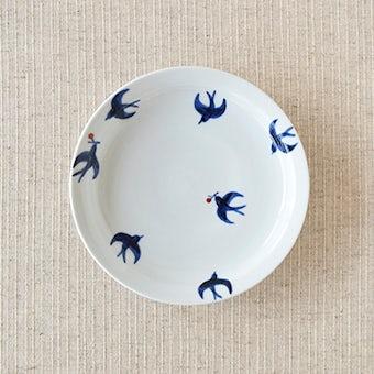 九谷焼/日下華子/つばめ/5寸皿(径:約15cm)の商品写真