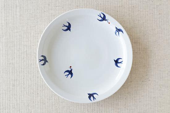 九谷焼/日下華子/つばめ/7寸皿(径:約21.5cm)の商品写真