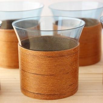 フィンランド製 木製カバー付きグラス6客セットの商品写真