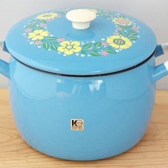 KOCKUMS/ホーロー両手鍋(水色花柄)の商品写真