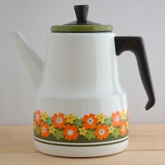 スウェーデンで見つけたグリーンとオレンジの花模様が可愛いホーローポットの商品写真