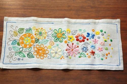 スウェーデンで見つけたリネン花模様刺繍テーブルセンターの商品写真