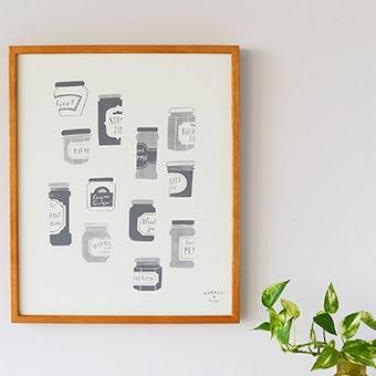 【取扱終了】オリジナルポスター/シルクスクリーン/ジャムのビン(グレー)の商品写真