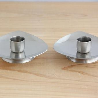デンマーク製/ステンレスのシンプルなキャンドルスタンド2個セットの商品写真