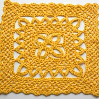 スウェーデンで見つけた手編みセンターマット(橙色スクエア)の商品写真