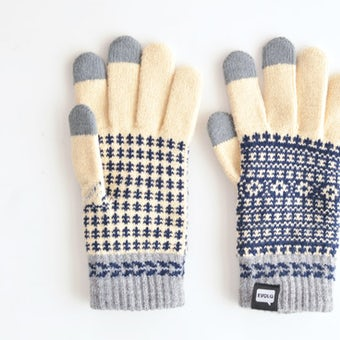 EVOLG/FLEUR/ショート手袋(バニラ×ネイビー×グレー)の商品写真