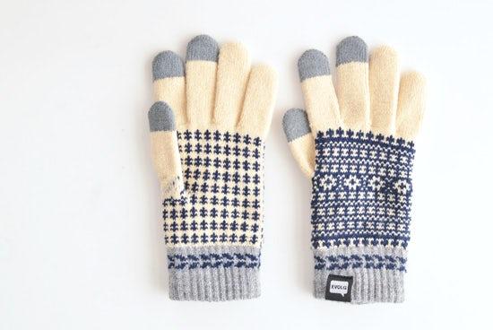 【次回10月頃入荷予定】EVOLG/FLEUR/ショート手袋(バニラ×ネイビー×グレー)の商品写真
