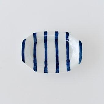九谷焼/高祥吾/縞模様/隅切り長小皿の商品写真