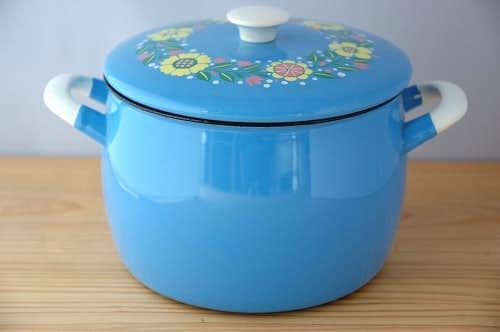 KOCKMUS/コクムス/ホーロー両手鍋(ブルー花柄)の商品写真