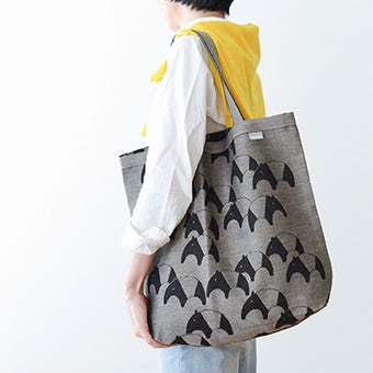 【次回2月下旬入荷予定】LAPUAN KANKURIT / ラプアン・カンクリ / トートバッグ / バク柄(ブラック×ナチュラル)の商品写真