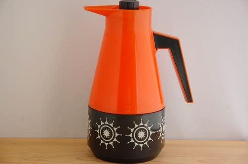スウェーデンで見つけたプラスティック魔法瓶(オレンジ&ブラック)の商品写真