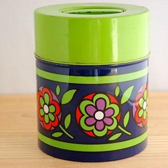 スウェーデンで見つけたレトロなブリキ缶(ブルー花柄)の商品写真