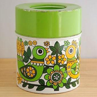 スウェーデンで見つけたレトロなブリキ缶(グリーン小鳥柄)の商品写真