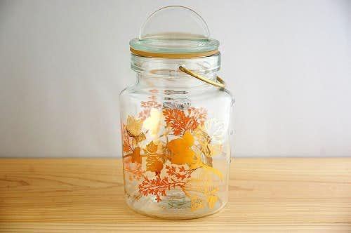 フィンランド製/花模様が可憐なガラスジャーの商品写真