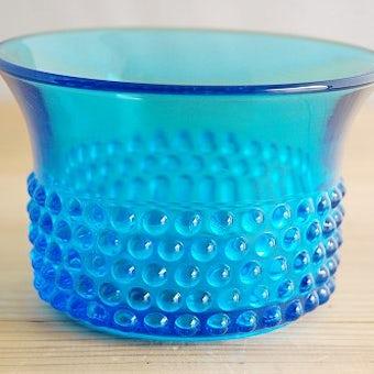 フィンランド/Nuutajarvi/ヌータヤルヴィ/Saara Hopea/ガラスの器(コバルトブルー)の商品写真