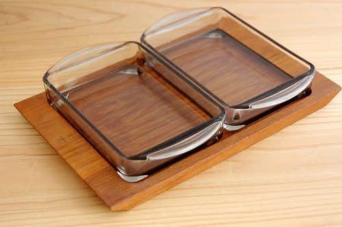 デンマーク製/チークトレー&ガラスプレートのセットの商品写真