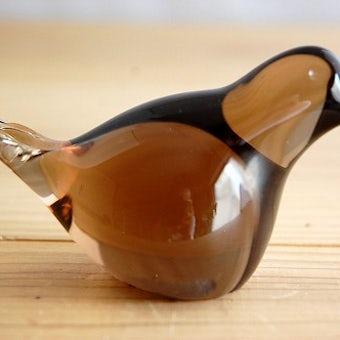 スウェーデンで見つけたガラスの小鳥のオブジェ(ブラウン)の商品写真