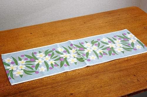 スウェーデンで見つけたテーブルランナー(ブルー花柄)の商品写真