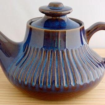 GEFLE(Upsala Ekeby)/ゲフル/KOSMOS/ティーポット(艶ありブルー)の商品写真