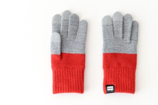 【次回10月頃入荷予定】EVOLG/2TON/ショート手袋(グレー×レッド)の商品写真