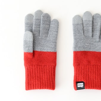 EVOLG/2TON/ショート手袋(グレー×レッド)の商品写真
