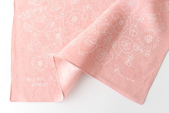 BIRDS' WORDS / バーズワーズ / リネンハンカチ / FLOWER (ピンク)の商品写真