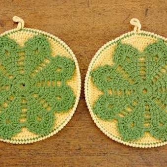スウェーデンで見つけた手編みポットホルダー(2枚セット)の商品写真
