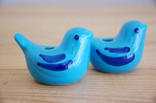 スウェーデンで見つけた小鳥のオブジェ2個セット(水色)の商品写真