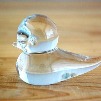 スウェーデンで見つけたガラスの小鳥オブジェ(クリア)の商品写真