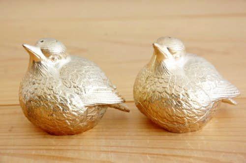 スウェーデンで見つけた小鳥の調味料入れ2個セット(ゴールド)の商品写真
