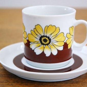 スウェーデンで見つけた花柄のコーヒーカップ&ソーサーの商品写真
